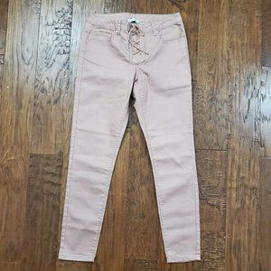 DEX Pink Lace Front Pink Rose Skinny Jeans 29 NEW